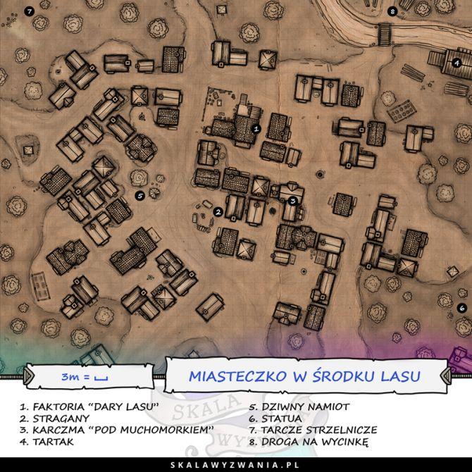 Mapa miasteczka w lesie.