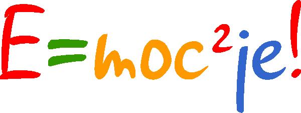 Logo konkursu E=moc2je!