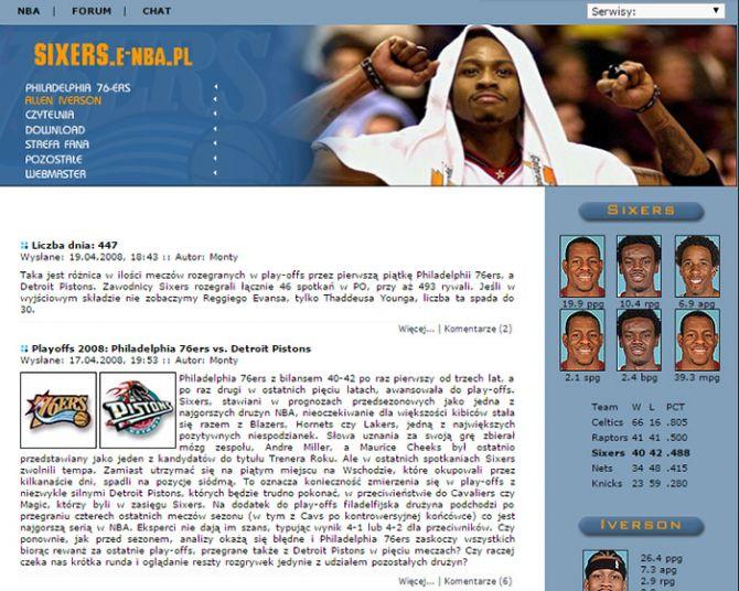 Wersja strony z 2008 roku, jeszcze jako część E-NBA.PL