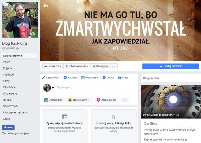 Mój fanpage na Facebooku